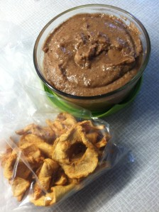 Organic dried apples and some homemade macadamia-chocolate nut butter. A scrump-dilly-umptious combo for a quick power snack.