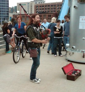 My friend Jesse MacIntosh pipes a lively tune at ArtPrize in 2010. Today, I was jigging a lively tune in my spirit (!!!!!!) thanks to a huge turnaround that I'm sure is because I've removed grains, dairy, and sugars from my diet.