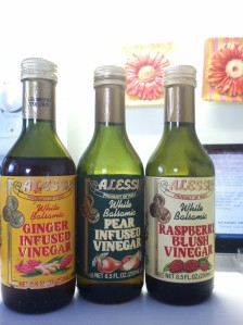 I'm not a vinegar lover. It normally doesn't get me excited. But I wuvs me some of this stuff -- balsamic vinegars infused with ginger, pear, and raspberry. I use them separately, or in combinations for a special flavor treat.