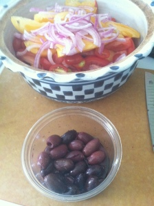 I chose pitted Kalamata olives to save on the dental bills.