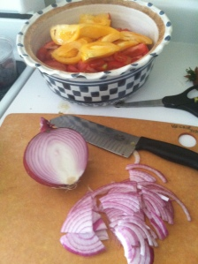Slice the red onion really thin.