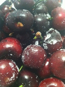 The cherries are frozen, icy cold and covered with frost. Just right for dipping in coconut milk, which will freeze onto the cherry. Then enjoy! Just watch out for the stones. They raise havoc with the dental work!