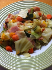 Voila! Delicious veggies and ham seasoned to perfection with just a hint of curry and garlic.