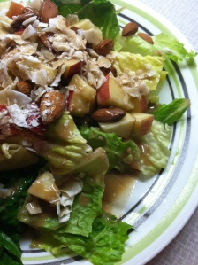 Romaine, diced apple, almonds, dried coconut flakes -- and if THAT isn't good enough all by itself, I top it off with a good dose of Creamy Strawberry-Pear Dressing. This and a small can of tuna makes a filling, satisfying lunch with enough protein, carbs, and fiber to get me through any busy afternoon!